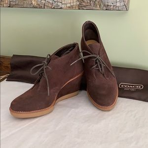 Authentic Coach Cassy Suede Wedge Ankle Boot